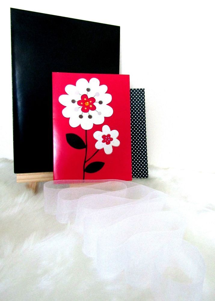 Glitter Flower Card & Envelope, Gift Wrapping Paper & White Organza Ribbon Set
