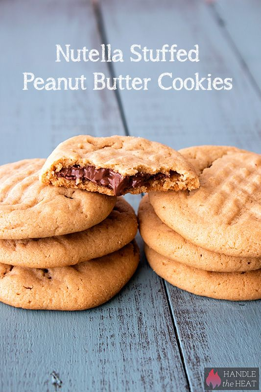 Nutella Stuffed Peanut Butter Cookies - Handle the Heat