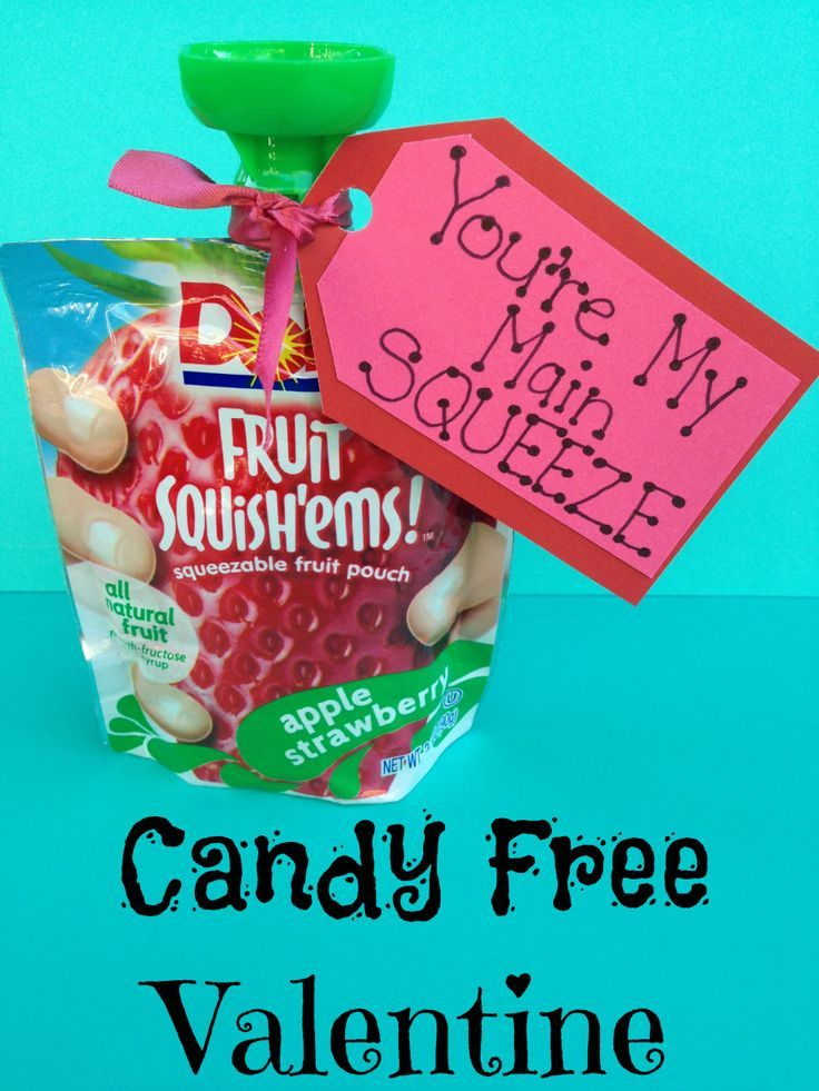 EASY Valentine non candy treat for kids to pass out at School and to friends using applesauce squeezers.