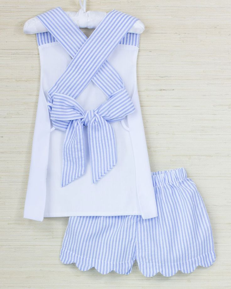 Blue Seersucker Short Set with Criss Cross Straps