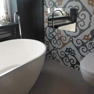 "Our 19"" Advanced bathroom television installed in a modern refurbished property"