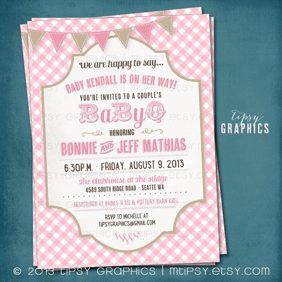 Picnic Baby Barbecue. CoEd Gingham BabyQ Baby Shower Invitation Pink Tan Brown