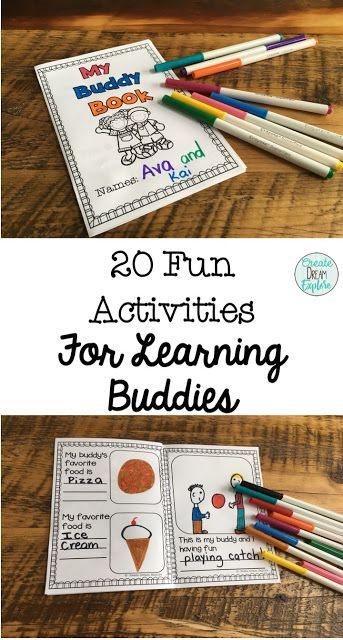 20 Activities To Do With Reading Buddies or Big/Little Buddy Time. There are some low prep activities and some that require time or prepping but all of the activities provide a great learning experience for learning buddies.