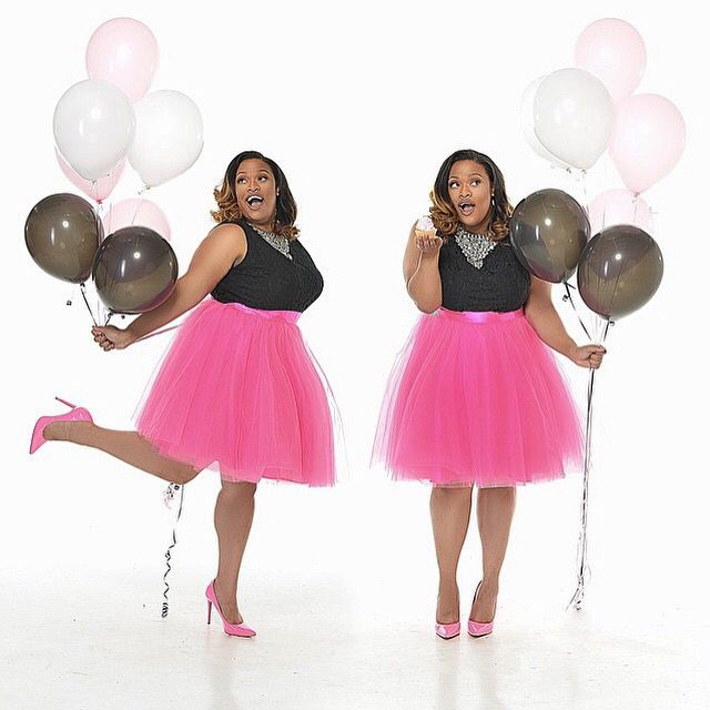 Space 46 fuchsia tulle skirt, anniversary photoshoot, balloons, plus size model, hot pink pumps