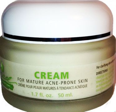 Acne-Prone Mature Skin Cream. Unlike competing products Cream for Mature Acne-Prone Skin does not contain salicylic acid or benzoyl peroxide, two synthetic ingredients that are harsh and dry out the skin. Instead, our product contains two naturally-derived ingredients which work just as well and are much gentler