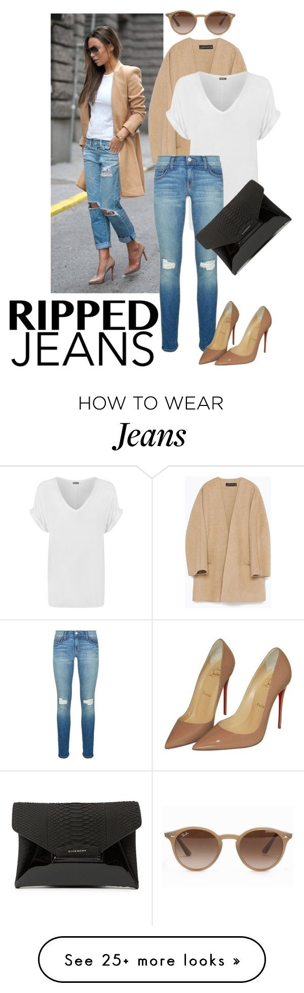 """photograph"" by deva-1998 on Polyvore featuring Zara, WearAll, Rebecca Minkoff, Christian Louboutin, Givenchy, Ray-Ban, StreetStyle, rippedjeans and fashionblogger"