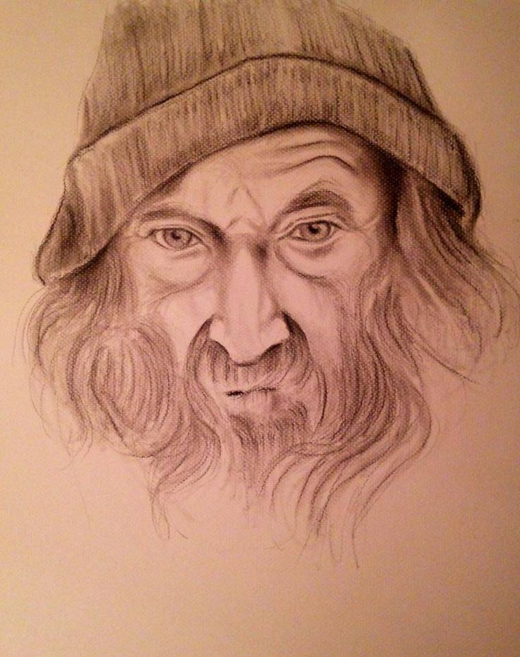 Portrait of old man Charcoal & Pencil