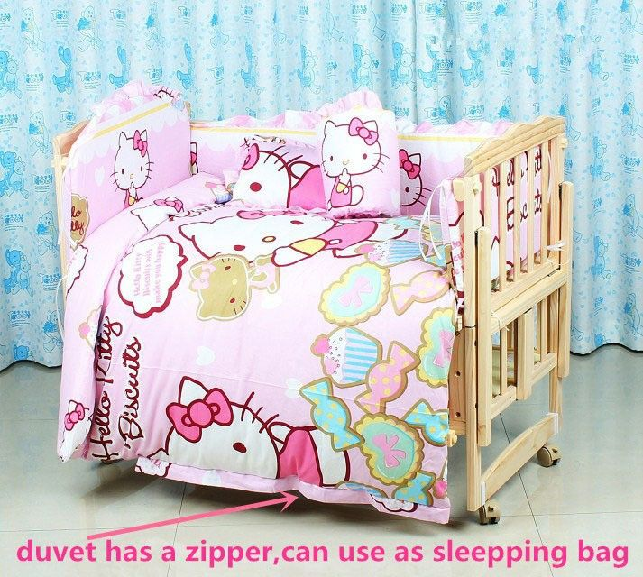 Promotion! 10PCS Hello Kitty crib baby bedding set curtain crib bumper baby cot sets baby bed (bumper+matress+pillow+duvet)