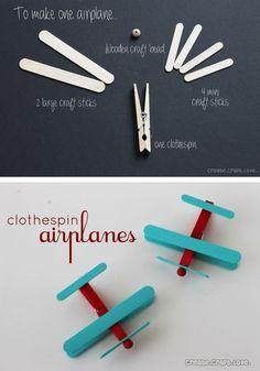 DIY Clothespin Airplanes