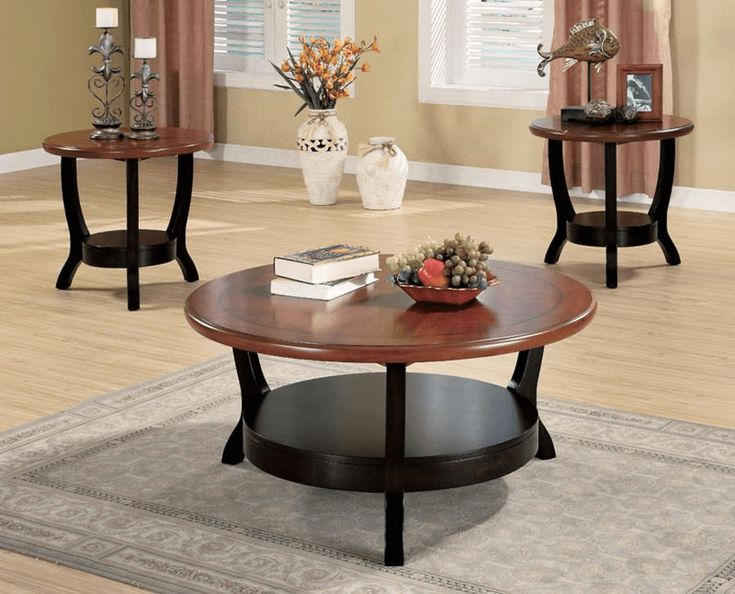 3 piece round living room table set home harmony ii for Round living room table sets