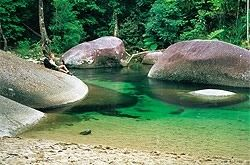 The Mysterious Babinda Boulders south of Cairns : Aboriginal legend says the spirit of Oolana still guards the boulders and that her calls for her lost lover can still be heard. 17 lives taken in this pool since 1959 mostly young men...