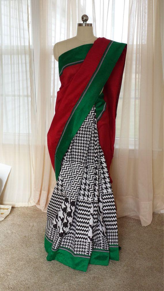 Chemisier/boulangerie Saree indien en soie et coton saris/noir