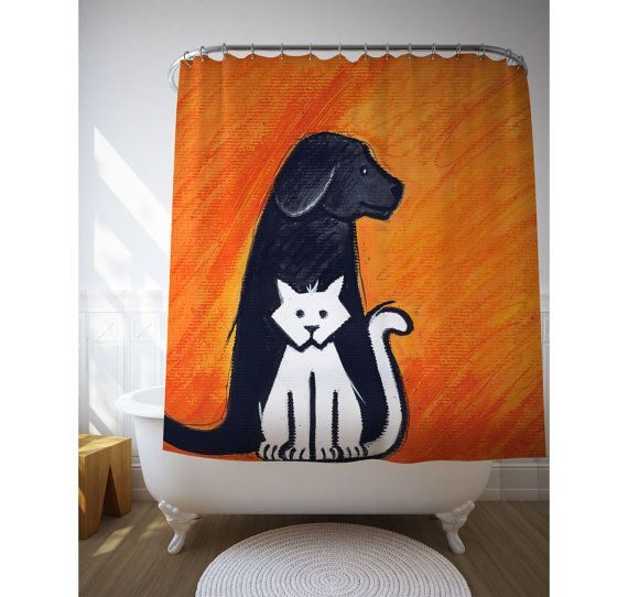 Animal Lover Gift, Orange Decor, Shower Curtain, Children Bath Art, Bath Curtains, Cat And Dog. Original Illustration by Mey Saldivia.  DETAILS Personalize your bathroom by choosing a shower curtain with one of our images. Poly printed shower curtain with 12 button holes for hook placement. Machine wash in cold water. Hooks not included.  100% Polyester Fabric (not plastic)  ** The watermark will not appear in the final product **  SIZES 71 x 74 inches (180x188cm) / Width x Height 71 x ...