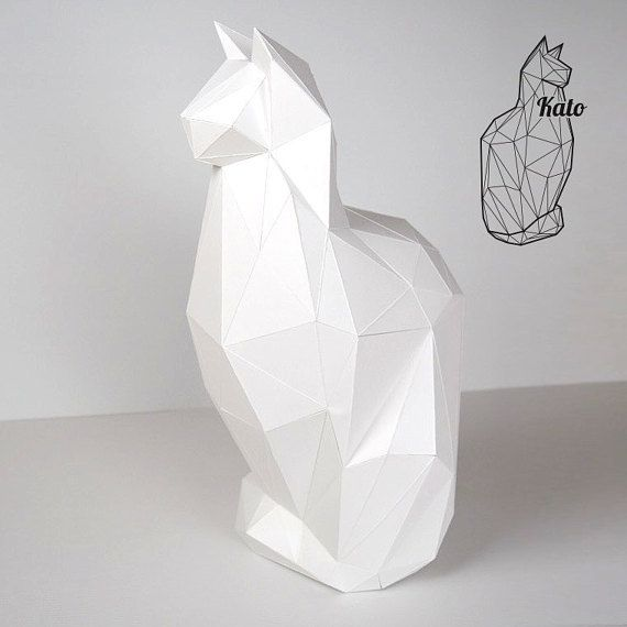 Inspired by a beautiful feline longhaired breed cat, Ragdoll, Persian, Maine Coon ...  This papercraft DIY kit can be printed at home on high quality 200 gr paper in any colour combination. Print it on A4 paper or scale it to A3 for a bigger result.  Cut and fold according to the instructions  final size of Kato a4: ±20 cm wide ±45 cm height ±32 cm deep  This folding kit is consists of 28 parts. The tabs are designed in a way that they are almost invisible if you want to turn your Kato into…