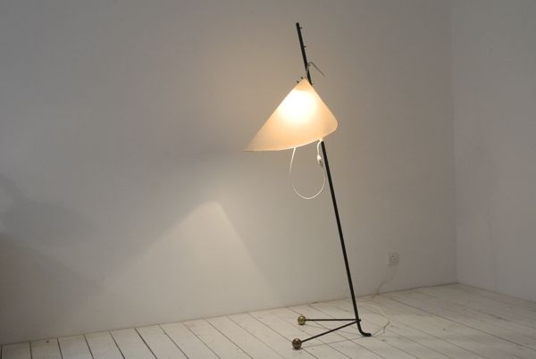 "Rare floor lamp ""Cavalletta"" made by KALMAR, AT c.1950. Black metal, brass and fabric. Shade can be adjusted in different heights. Measures 168 cm high. SOLD"
