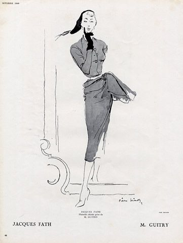 Jacques Fath 1949 Pierre Simon Fashion Illustration