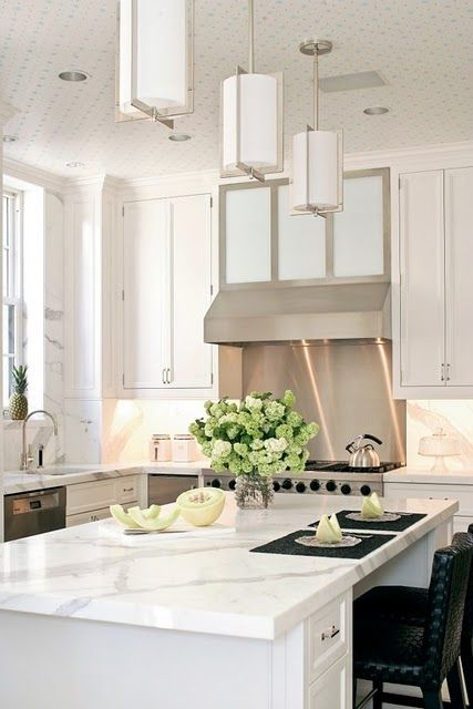 carrara marble island, overheight overheads, stainless steel: Lights Fixtures, Pennoy Architects, Peter O'Tool, Peter Pennoy, Kitchens Ideas, White Marbles Kitchens, Modern Kitchens, White Kitchens, Stainless Steel