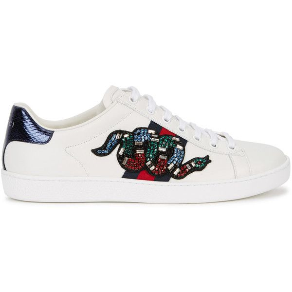 Gucci Ace Snake-embellished Leather Trainers - Size 5 found on Polyvore featuring shoes, sneakers, momma shoes, flats, leather shoes, lace up sneakers, leather trainers, embellished shoes and leather sneakers
