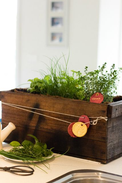 how to make a herb wooden box planter