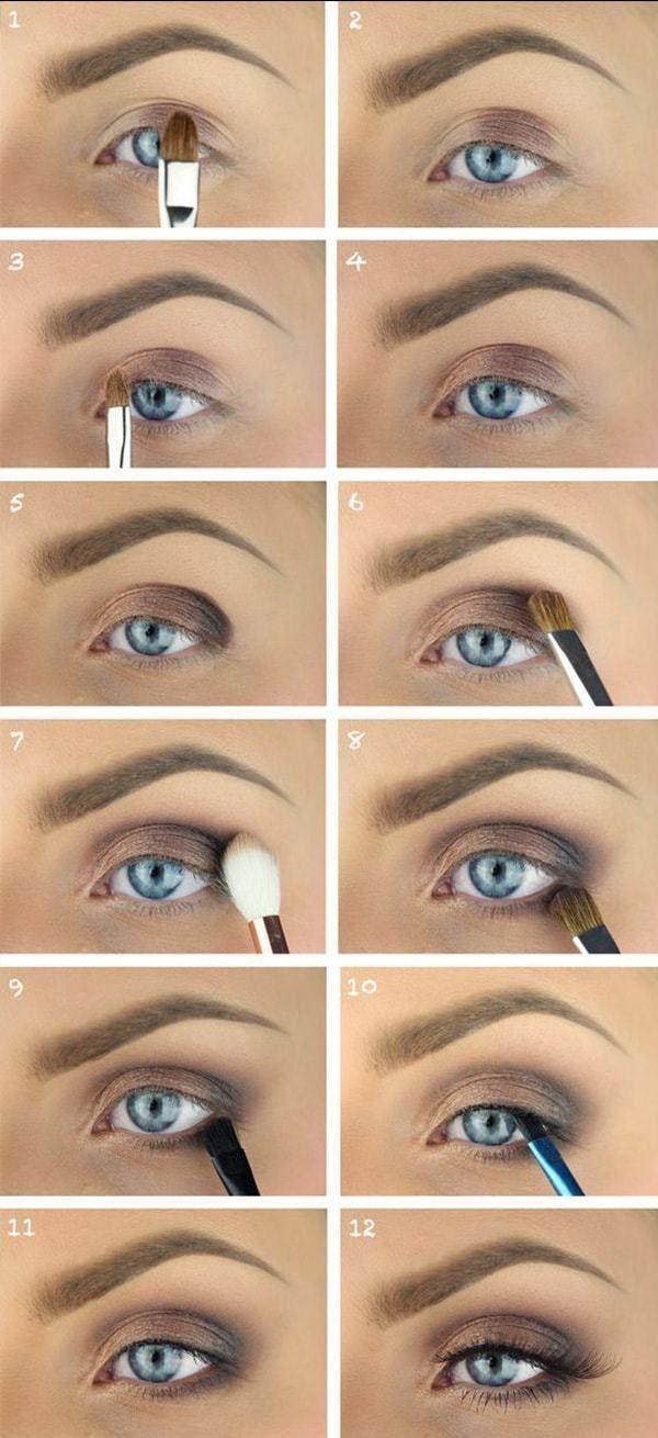 Nackter brauner Lidschatten für blaue Augen