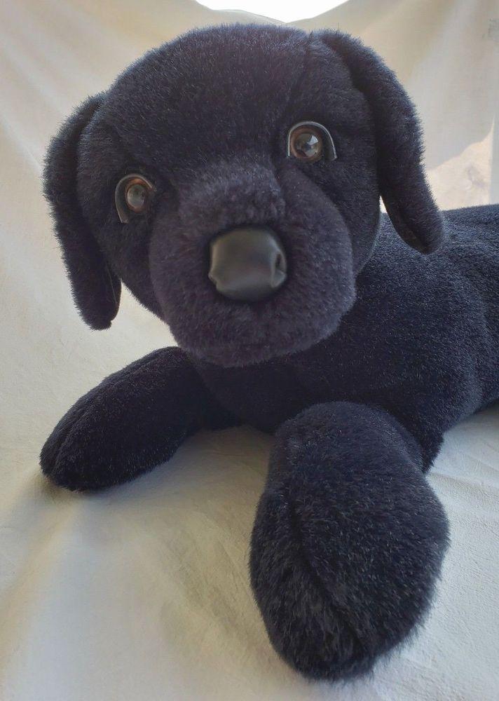Vtg Douglas Cuddle Toys Black Lab Stuffed Puppy Dog Animal Laying