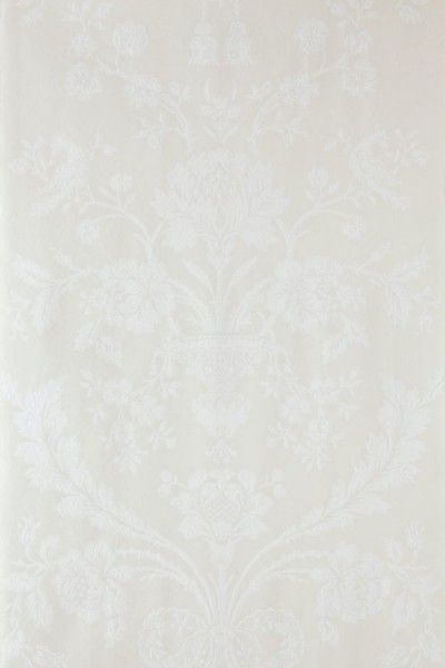 St Antoine (BP 901) - Farrow & Ball Wallpapers - A beautiful french damask creeping floral motif in a pictorial design. Shown here in white on cream water based paints - more colours are available. Please request a sample for true colour match