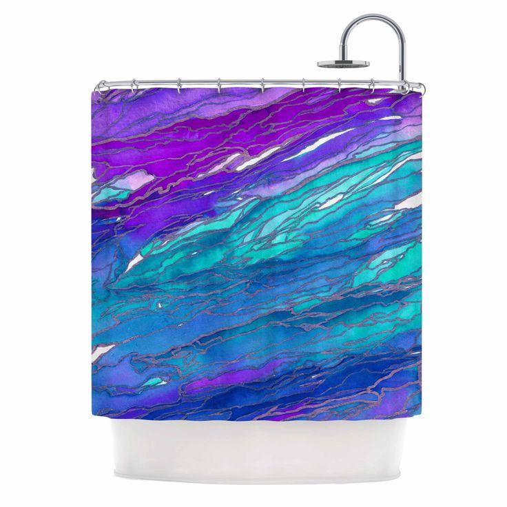 Kess InHouse Ebi Emporium Agate Magic - Purple Blue Aqua Lavender Shower Curtain