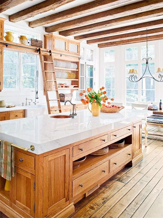 Ah! My dream kitchen!  I love the ladder and the ceiling beams... And everything else.Ceilings Beams, Ideas, Dreams Kitchens, Floors, Expo Beams, Ladders, Kitchens Islands, Country Kitchens, Big Islands