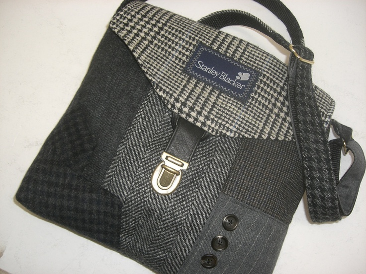 Recycled purse black grey men's suit coat READY TO by SewMuchStyle