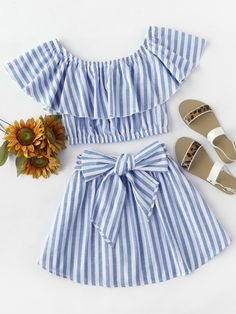 ¡Cómpralo ya!. Flounce Bardot Top And Bow Front Skirt Set. Skirt Blue Cotton Striped Boat Neck Cap Sleeve Bow Belt Sexy Vacation YES Fabric has no stretch Summer Two-piece Outfits. , tophombrosdescubiertos, sinhombros, offshoulders, offtheshoulder, coldshoulder, off-the-shouldertop, schulterfreiestop, tophombrosdescubiertos, topdosnu, topspallescoperte, hombrosdescubiertos. Top hombros descubiertos de mujer de SheIn.