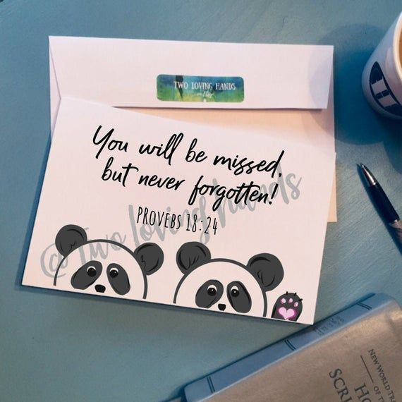 You Will Be Missed But Never Forgotten Panda Card Proverbs Etsy Diy Cards For Friends Birthday Cards For Friends Panda Card