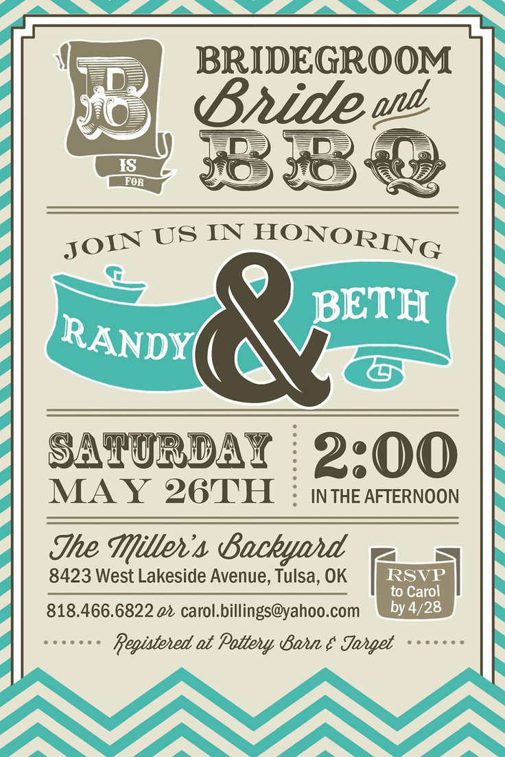 PRINTABLE - Vintage BBQ - Wedding / Couples Shower Invitation - Digital. $12.00, via Etsy.