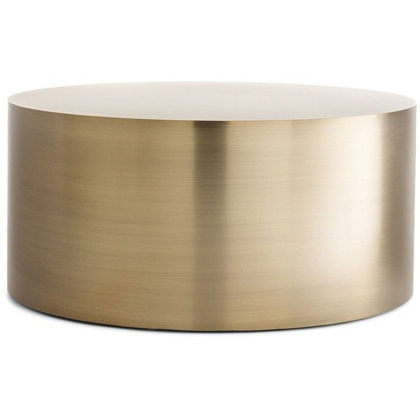 Milo Baughman Drum Coffee Table (3,825 CAD) ❤ liked on Polyvore featuring home, furniture, tables, accent tables, coffee tables, decor, drum accent table, bronze table, patina furniture en 70s furniture