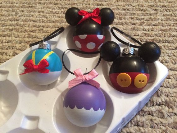 Disney Mickey and Minnie Mouse Donald Duck and Daisy Hand Painted Glass Ornaments Set of 4