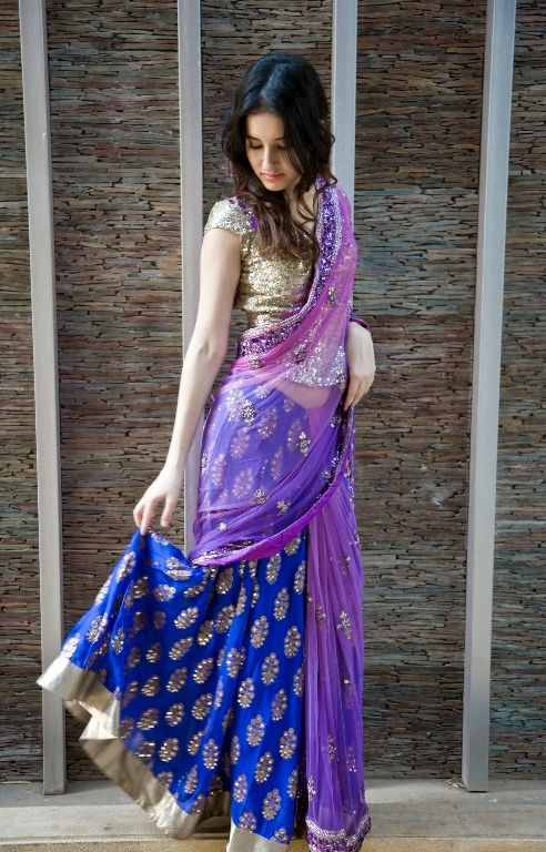 Lovely #Lehenga in Blue, Gold & Lilac . Get this made on www.faaya.in