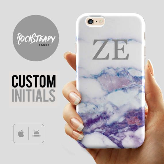 Custom Marble iPhone 7 case,  6s, 7 Plus, 6 Plus, 5C, 5S, SE cover,purple white personalised Initials, personalized letters fashion gift UK