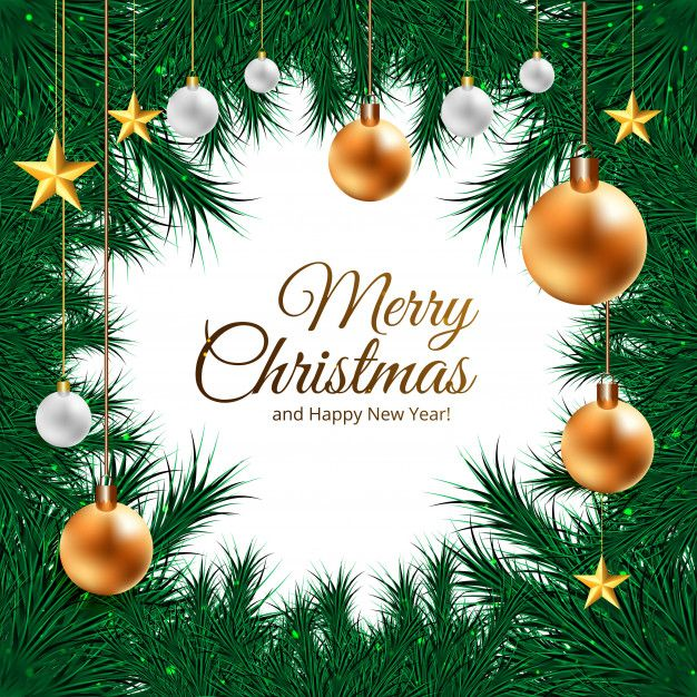 Download Christmas Frame Background For Realistic 3d Balls On Fir Tree Branches For Free In 2020 Christmas Frames Christmas Frame Background
