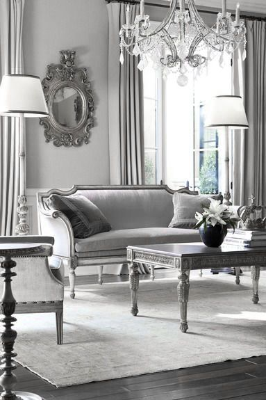 ♅ Dove Gray Home Decor ♅ classical grey and white living room with chandelier - formal living room