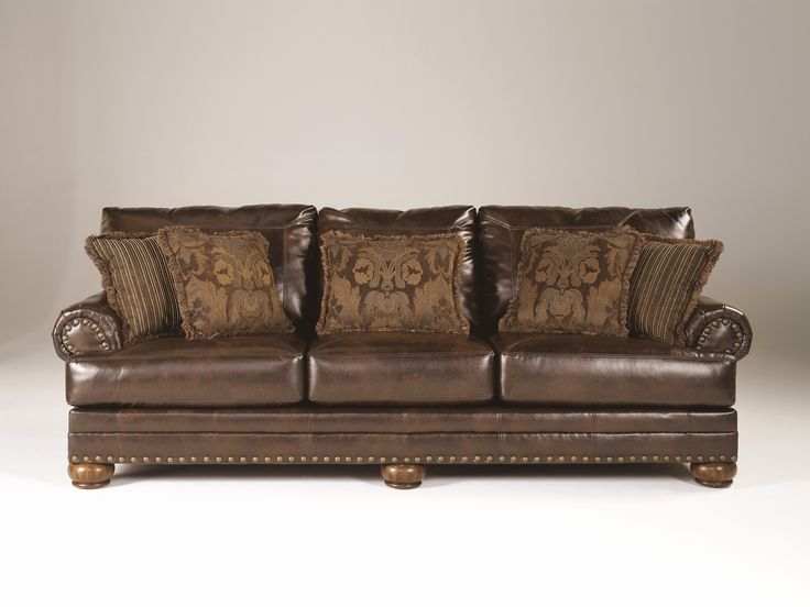 Inspirational ashley Leather sofa Images ashley brown leather durablend antique sofa by ashley furniture