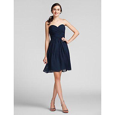 Knee-length Chiffon Bridesmaid Dress - Dark Navy Plus Sizes / Petite Sheath/Column Sweetheart – USD $ 69.99