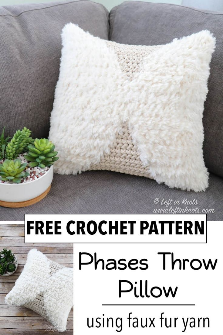 Crochet Phases Throw Pillow Free Pattern Left In Knots Crochet Pillow Cover Crochet Pillow Pattern Crochet Cushion Cover