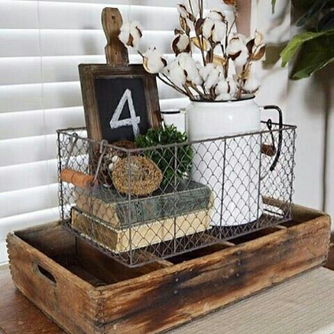 wire basket full of pretty things