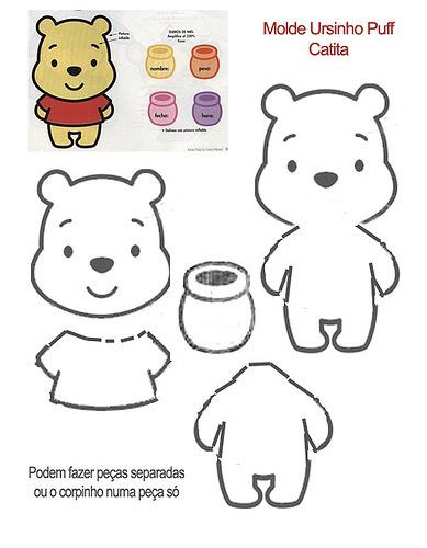 ~Pooh Bear Template.Pattern~      P/s : Template adalah hasil carian google.   Felt Tutorial : Pooh Bear Tutorial Part 1 http://yu-ie.blogsp...