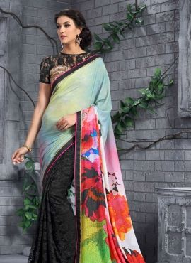 Green & Black latest floral print half n half saree with blouse
