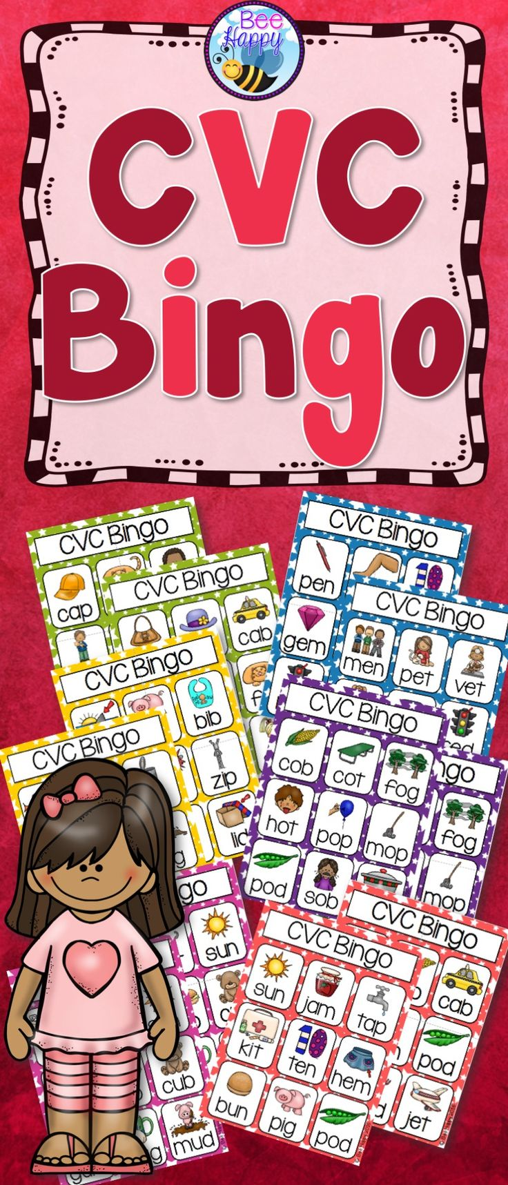 CVC Bingo  This resource has six Bingo games to practice and consolidate the five short vowel sounds.  Each game has eight Bingo boards, making it perfect to play in small groups, in literacy centers or they could even be made up and sent home for homework!