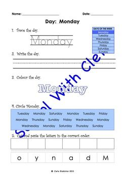 These pages are designed to be repetitive and interactive for your children so that they can learn how to write the words for each day of the week e.g. Monday.This set of worksheets children are to do the following with the numbers and words:1) Trace the words,2) Write the words,3) Colour the words,4) Circle the correct words and5) Cut and paste the letter to make the words.Each worksheet also includes an image of all of the days of the week so they can learn to associate the day in the…