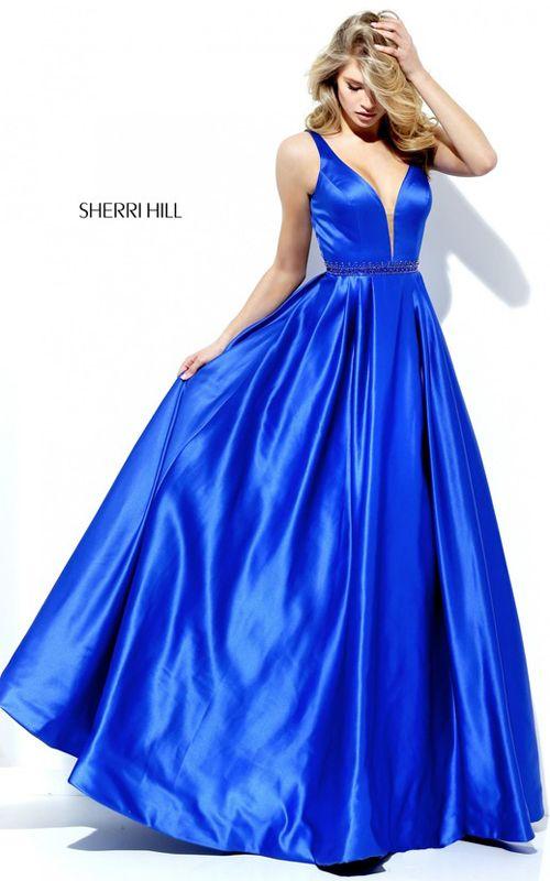 Sherri Hill 50496 Royal Illusion Long A Line Prom Dress