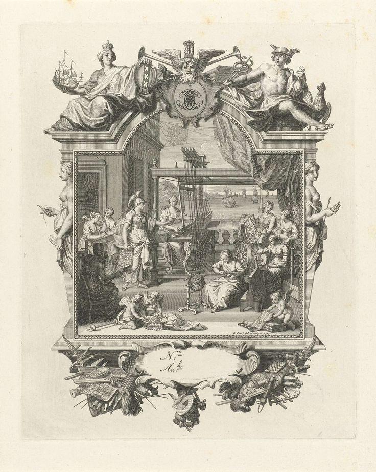 Bernard Picart | Minerva bezoekt vrouwen die spinnen en weven, Bernard Picart, 1717 | Minerva bezoekt vrouwen die wol spinnen en stof weven. Ze houdt een weefpatroon in de hand en wijst op vrouwen die de stof bekijken. Boven het weefgetouw een spinnenweb, als verwijzing naar Arachne die door haar in een spin is veranderd. Op de achtergrond een gezicht op zee. De voorstelling is gevat in een uitbundig gedecoreerd cartouche dat wordt bekroond door Vader Tijd, de personificatie van Scheepvaart…