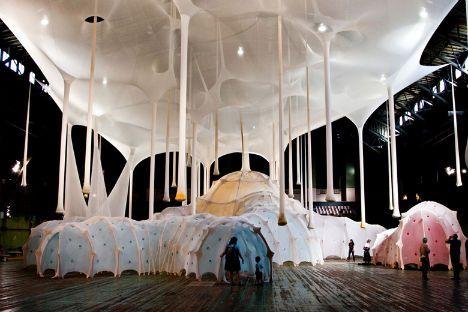 Ernesto Neto's 'Anthropodino' installation at the Park Avenue Armory
