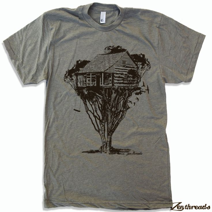 Mens TREEHOUSE Cabin t shirt american apparel S M L XL (in 16 Colors) by ZenThreads on Etsy https://www.etsy.com/listing/71325921/mens-treehouse-cabin-t-shirt-american